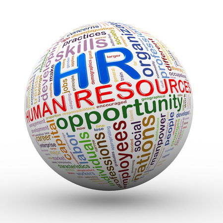 hr: 3d illustration of hr human resources word tags wordcloud ball Stock Photo