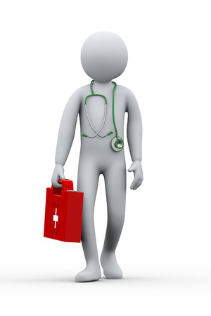 diagnosing: 3d illustration of doctor with first aid box and stethoscope  Stock Photo