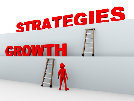 3d illustration of man, ladders and concept of growth strategies. 3d rendering of human people character. illustration