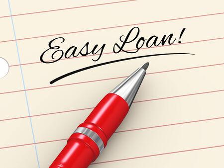 3d render of pen on paper written easy loan Stock Photo