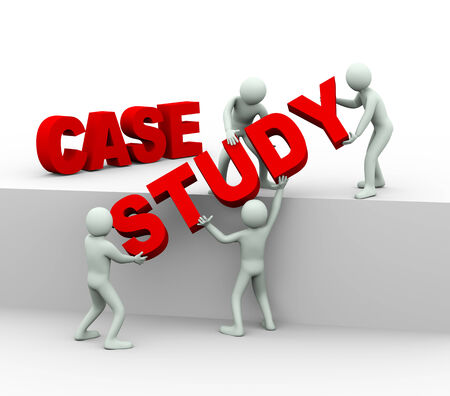3d illustration of men working together and placing words case stydt   3d rendering of human people character and concept of team work