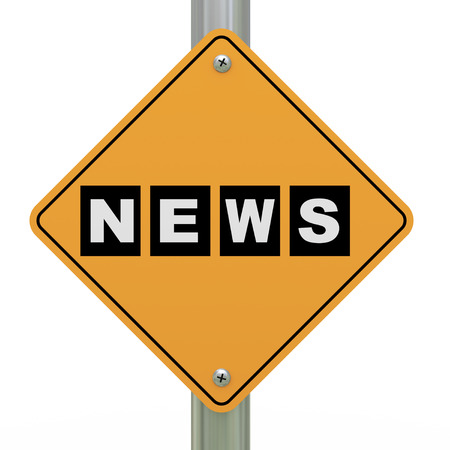 current events: 3d illustration of yellow roadsign of news Stock Photo
