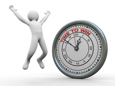 energize: 3d illustration of man jumping  with joy and clock with words time to win   3d rendering of human people character  Stock Photo