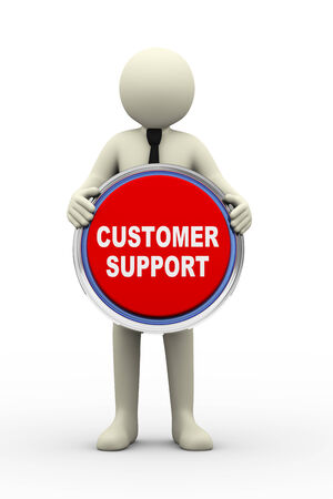 3d Illustration of person holding customer support button. 3d rendering of human people character. illustration