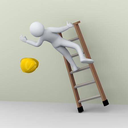 작업에 떨어지는 건설 노동자의 3D 그림입니다. 인간의 사람들이 문자 사다리 사고의 3D 렌더링합니다. 스톡 콘텐츠