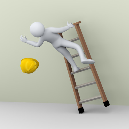 3d illustration of construction worker falling on the job. 3d rendering of human people character ladder accident.