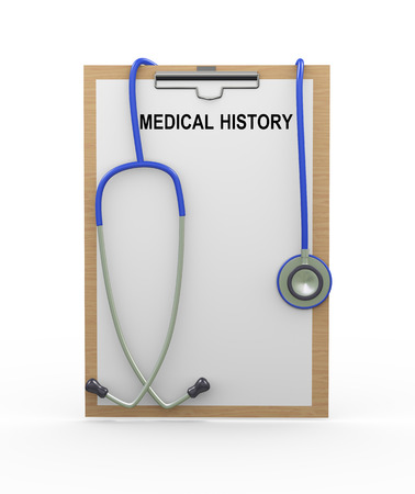 medical history: 3d illustration of stethoscope and medical history clipboard Stock Photo