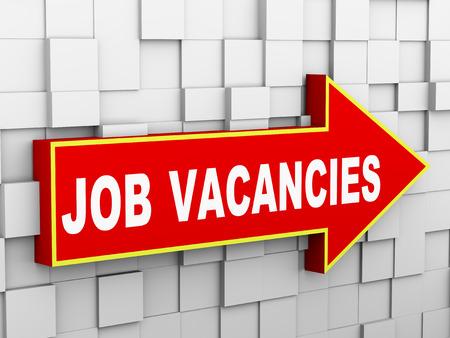 vacancies: 3d illustration of abstract cube wall arrow design concept of job vacancies