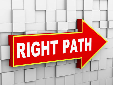 right path: 3d illustration of abstract cube wall arrow design concept of right path