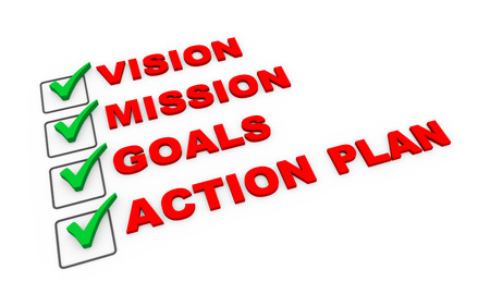 vision mission: 3d illustration of check mark selected option of vision, mission goals and action plan