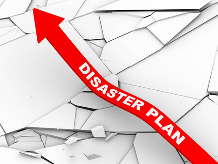 destroyed: 3d illustration of rising arrow with disaster plan over cracked and destroyed land.  Concept of stress management, disaster planning. Stock Photo
