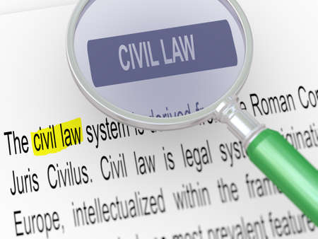 codified: 3d illustration of magnifying glass over defination of civil law.