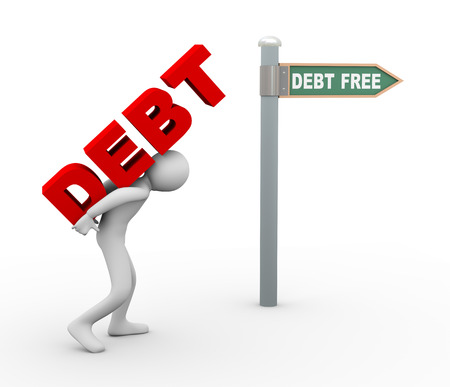 back roads: 3d illustration of person caryying word debt toward debt free zone pointed by road sign post.  3d rendering of human people character.