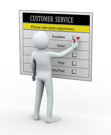 satisfactory: 3d illustration of person filling customer service evaluation survey. 3d rendering of human people character