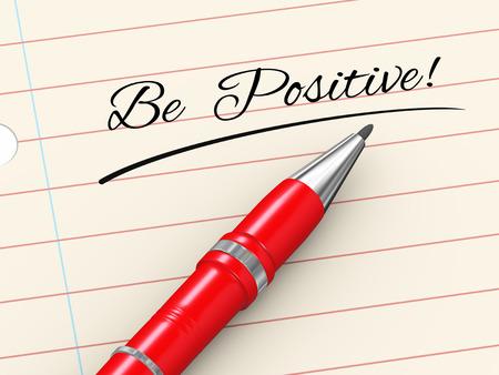 3d render of pen on paper written be positive photo