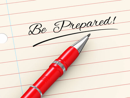 disaster preparedness: 3d render of pen on paper written be prepared