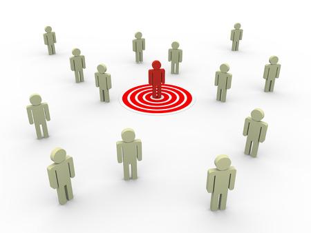 3d illustratie van de mens op doel. Concept van targeting nieuwe klanten en kopers voor omzetgroei.