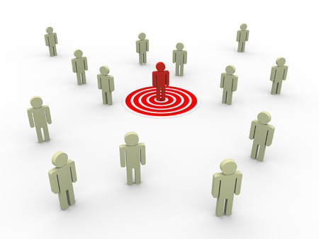 3d illustration of man on target.  Concept of targeting new customers and buyers for sales growth.  Stock Photo