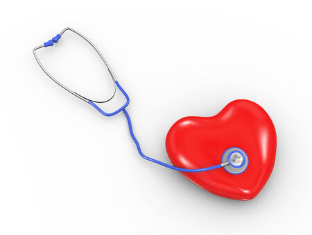 3d illustration of 3d stethoscope with heart