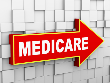 medicare: 3d illustration of abstract cube wall arrow design concept of medicare Stock Photo