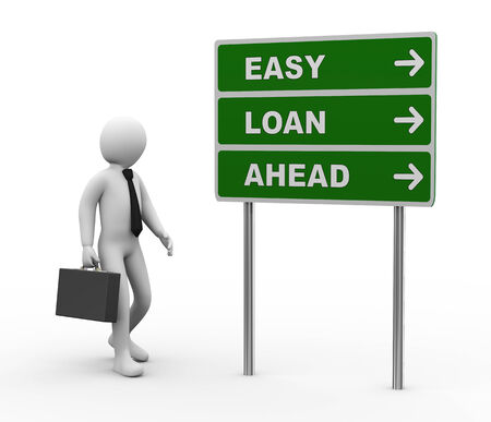 borrower: 3d illustration of man and green roadsign of easy loan ahead  3d rendering of human people character