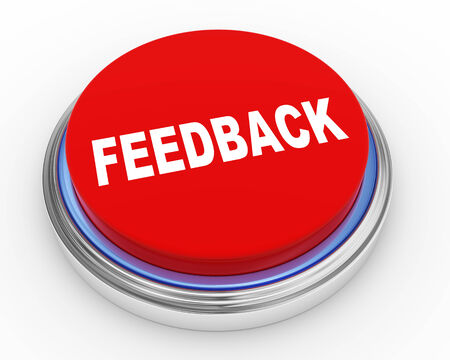 feed back: 3d Illustration of round shiny feedback button
