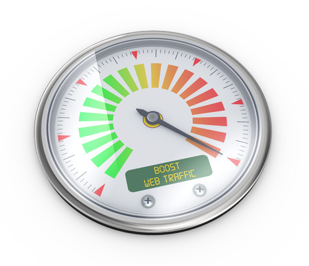 website traffic: 3d illustration of guage meter of boose web traffic concept