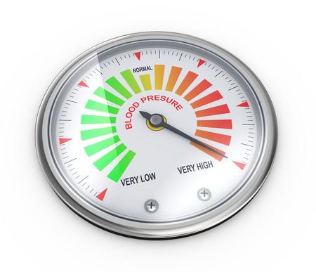 hypertensive: 3d illustration of guage meter of blood pressure level