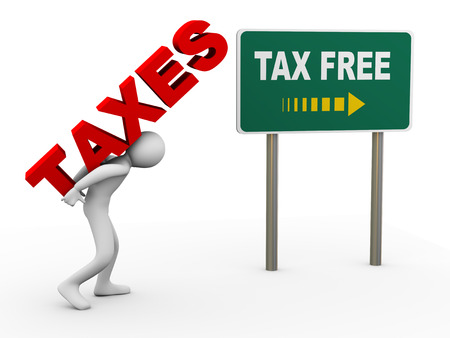3d illustration of man caryying word taxes toward debt free zone pointed by sign post   3d rendering of human people character Stok Fotoğraf