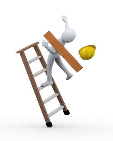 3D-Darstellung von Mann Bauarbeiter Ungleichgewicht und Fall von Leiter 3D-Rendering von menschlichen Menschen Charakter Vorfall Standard-Bild