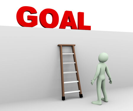focus on the goal: 3d illustration of person standing near ladder and looking and planning for achieving his target goal  3d rendering of human people character