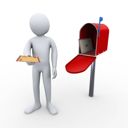 3d render of person giving letter and open mailbox with enevelopes andletters inside   3d rendering of human people character  photo