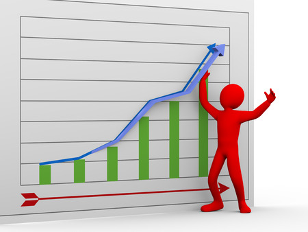 3d illustration of businessman helping graph arrow to go upward   3d rendering of human people character  illustration