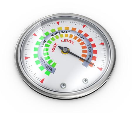 リスク レベルの概念のゲージ メーターの 3 d イラストレーション 写真素材