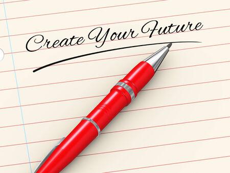 rewarding: 3d render of pen on paper written create your future Stock Photo