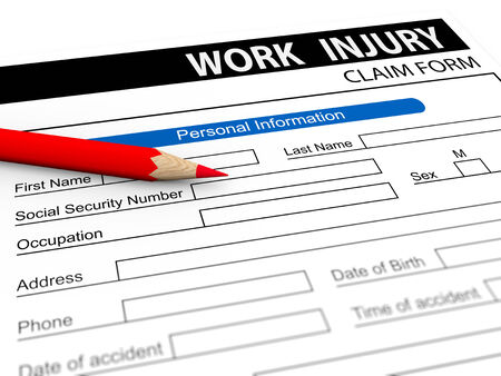 claim: 3d illustration of red pencil over work injury compensation claim form. Stock Photo