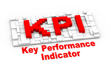 3d illustration of abstract cube design of kpi - key performance indicator illustration