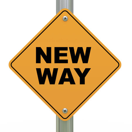 newest: 3d illustration of yellow roadsign of new way