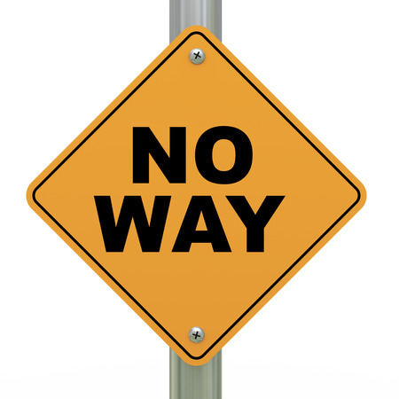 critique: 3d illustration of yellow roadsign of no way Stock Photo
