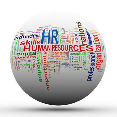 3d Illustration of sphere ball presentation of wordcloud word tags of hr human resources