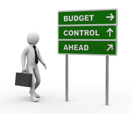 3d illustration of man and green roadsign of budget control ahead   3d rendering of human people character  illustration