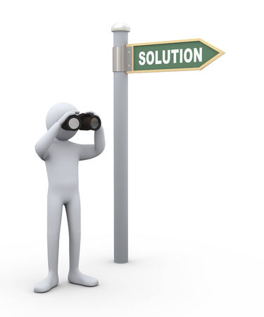 observe: 3d illustration of man near solution road sign with field glass binocular   3d rendering of human people character