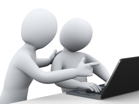 3D illustratie van mensen uit het bedrijfsleven samen te werken met de laptop 3D-weergave van het menselijk mensen karakter