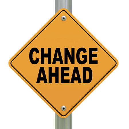3d illustration of yellow roadsign of change ahead illustration