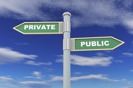 private or public: 3d illustration of road signs of words public and private Stock Photo