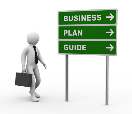 funding: 3d illustration of man and green roadsign of business plan guide. 3d rendering of human people character. Stock Photo