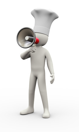 3d illustration of cook man screaming and announcing through megaphone. 3d rendering of human people character.