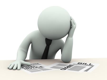 obligaciones: 3d ilustraci�n de la persona estresada preocupado por pasivos, cuentas, deudas pendientes de pago. Representaci�n 3D de la gente - car�cter humano.
