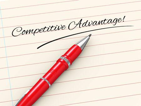 advantage: 3d render of pen on paper written competitive advantage Stock Photo