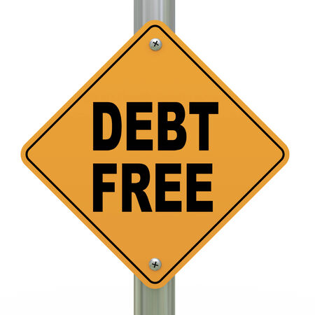 economic recovery: 3d illustration of yellow roadsign of debt free  Stock Photo